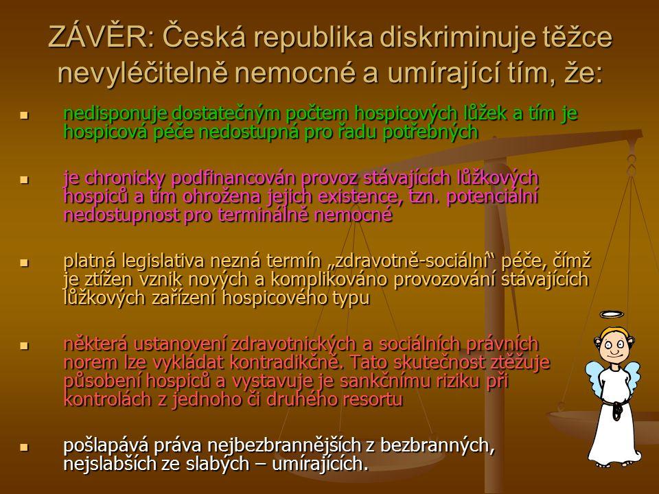 ZÁVĚR: Česká republika diskriminuje těžce nevyléčitelně nemocné a umírající tím, že:
