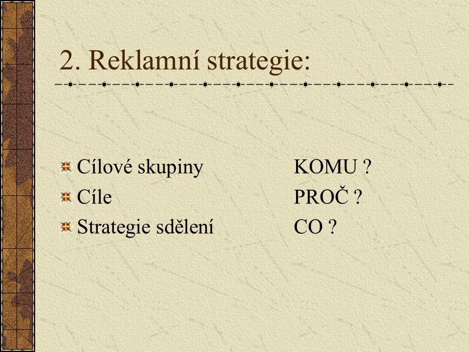 2. Reklamní strategie: Cílové skupiny KOMU Cíle PROČ