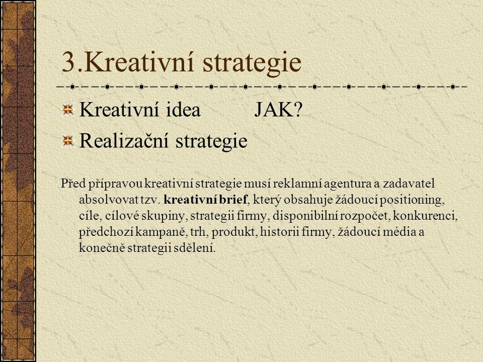 3.Kreativní strategie Kreativní idea JAK Realizační strategie