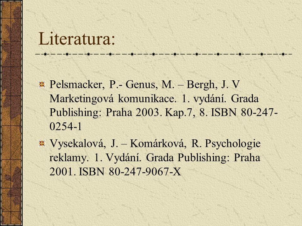 Literatura: Pelsmacker, P.- Genus, M. – Bergh, J. V Marketingová komunikace. 1. vydání. Grada Publishing: Praha 2003. Kap.7, 8. ISBN 80-247-0254-1.