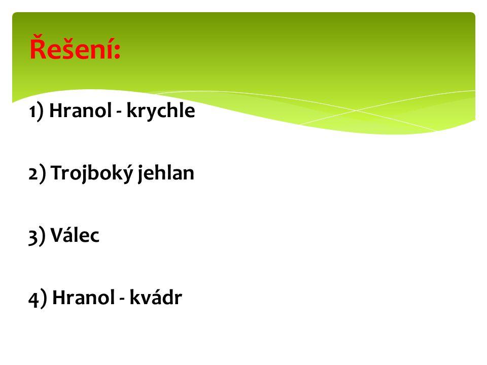 Řešení: 2) Trojboký jehlan 3) Válec 4) Hranol - kvádr