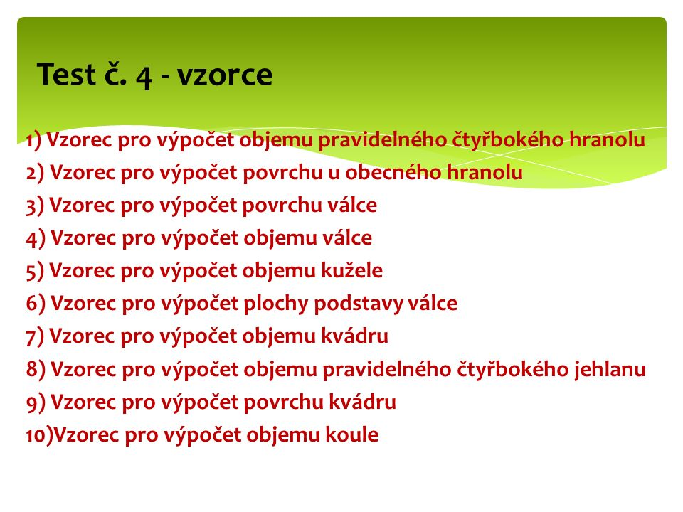 Test č. 4 - vzorce