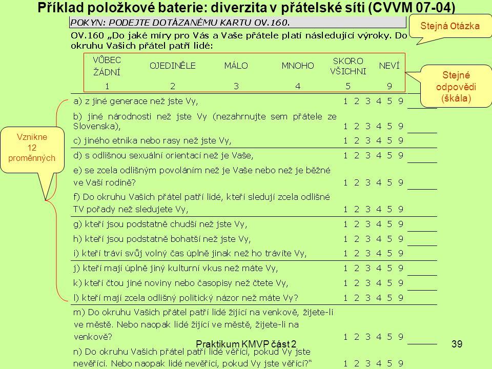 Příklad položkové baterie: diverzita v přátelské síti (CVVM 07-04)