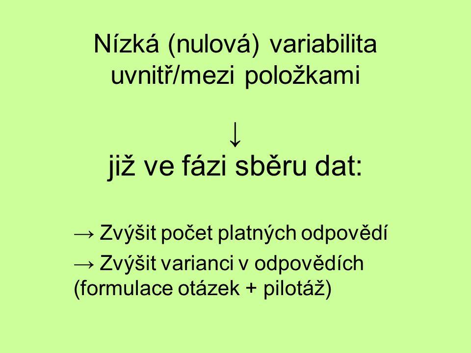 Nízká (nulová) variabilita uvnitř/mezi položkami