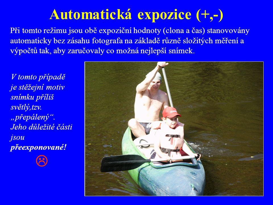 Automatická expozice (+,-)