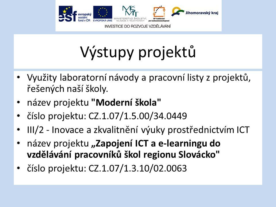 Výstupy projektů Využity laboratorní návody a pracovní listy z projektů, řešených naší školy. název projektu Moderní škola