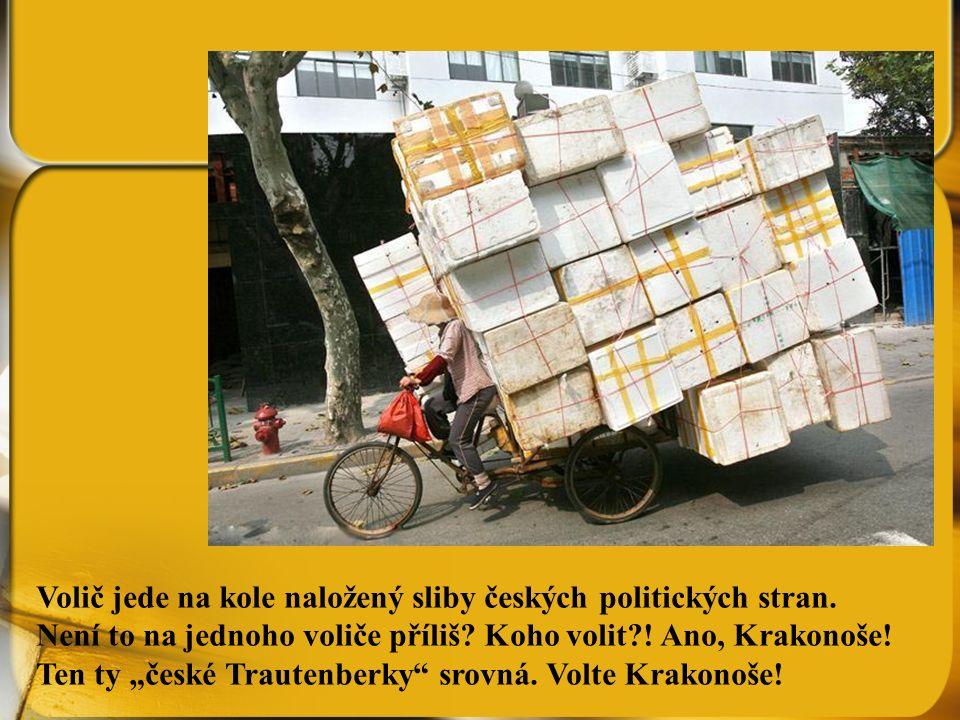 Volič jede na kole naložený sliby českých politických stran.