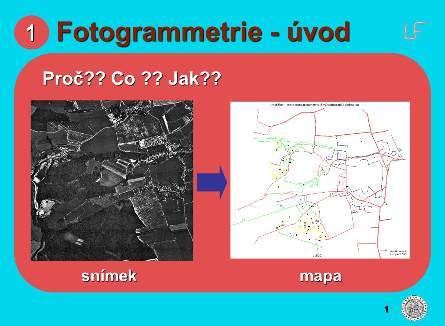 1 Fotogrammetrie - úvod Proč Co Jak snímek mapa