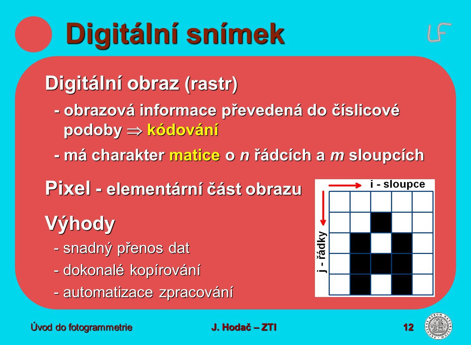 Digitální snímek Digitální obraz (rastr)