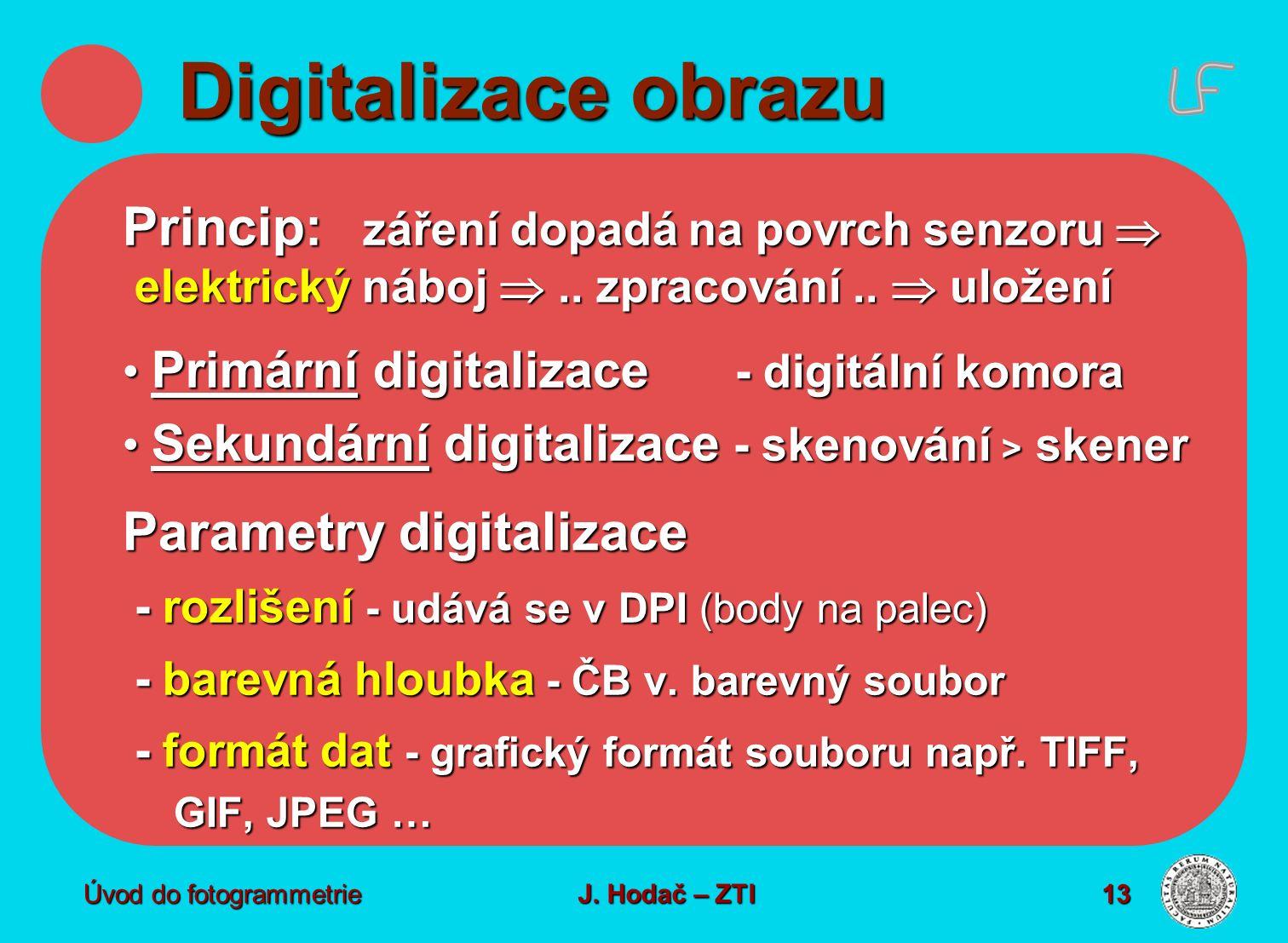 Digitalizace obrazu Princip: záření dopadá na povrch senzoru  elektrický náboj  .. zpracování ..  uložení.