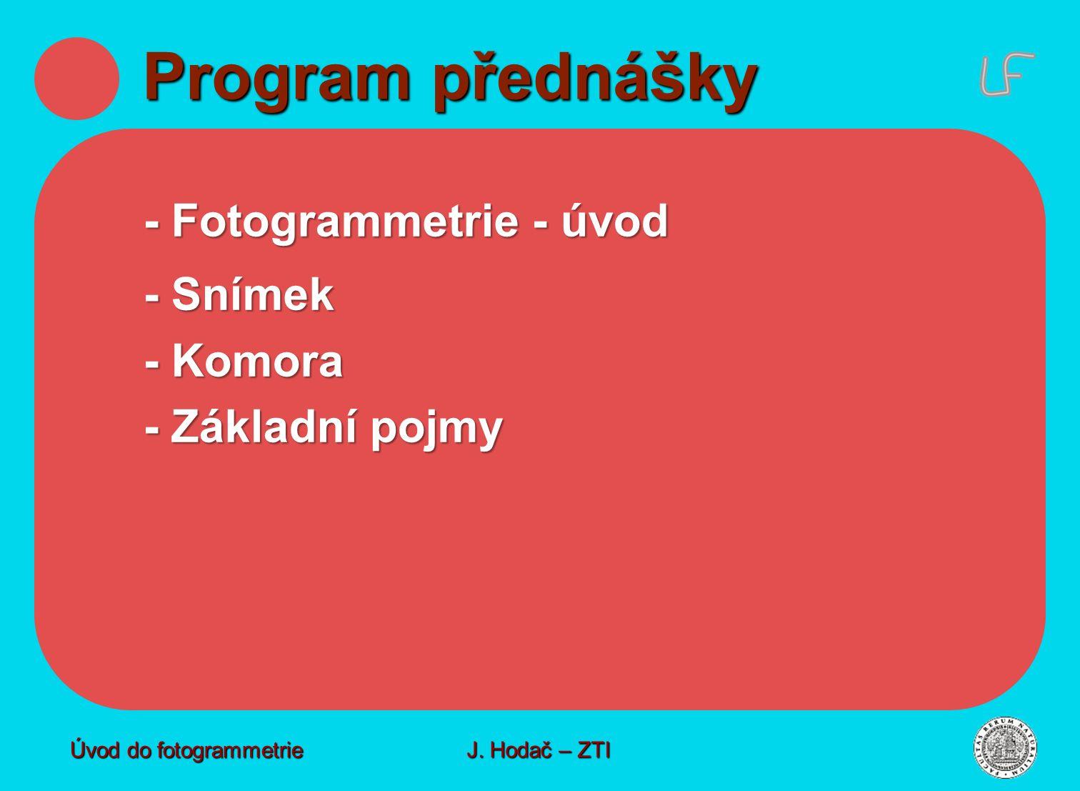 Program přednášky - Fotogrammetrie - úvod - Snímek - Komora