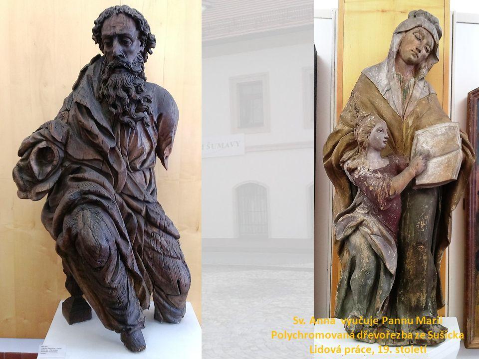 Sv. Anna vyučuje Pannu Marii Polychromovaná dřevořezba ze Sušicka
