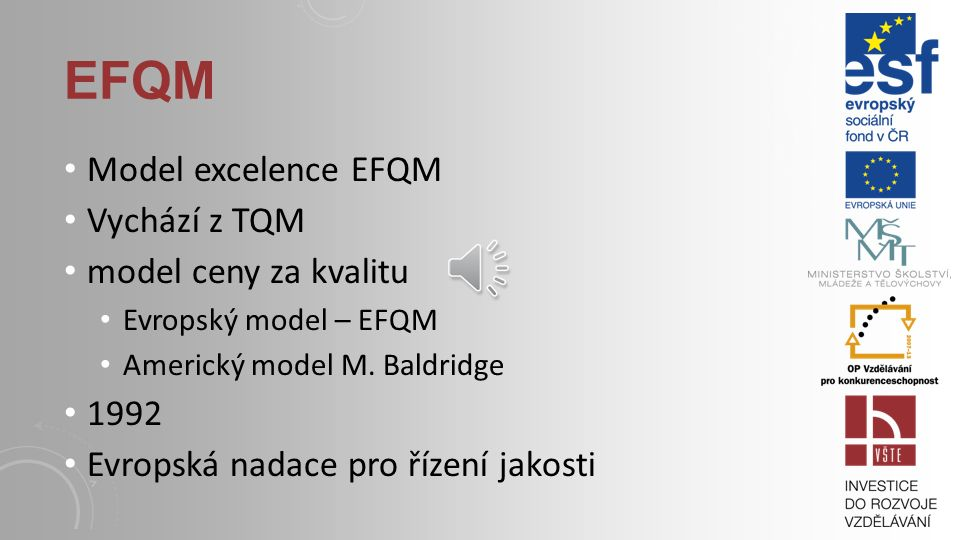 EFQM Model excelence EFQM Vychází z TQM model ceny za kvalitu 1992
