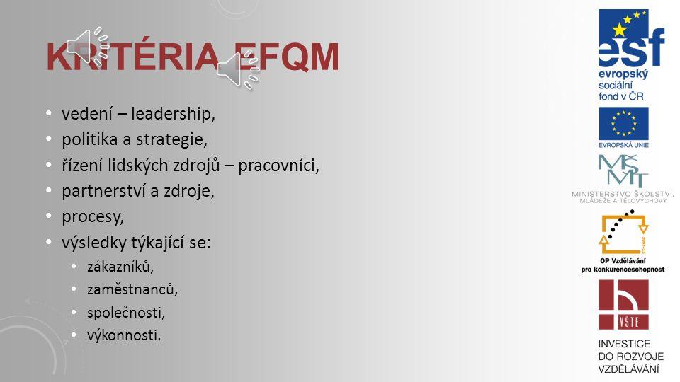 Kritéria EFQM vedení – leadership, politika a strategie,