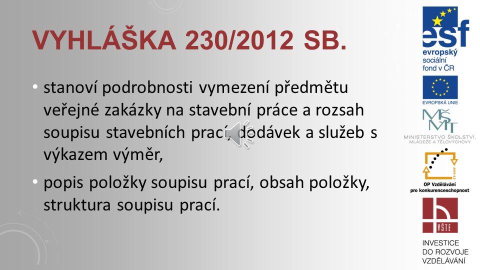 Vyhláška 230/2012 Sb.