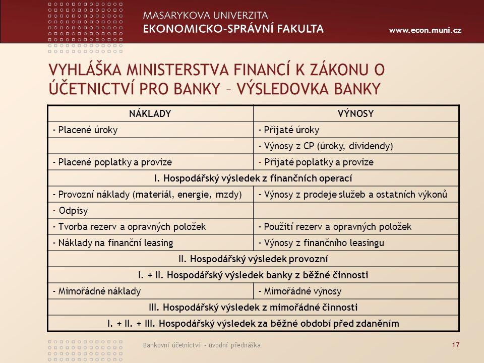 VYHLÁŠKA MINISTERSTVA FINANCÍ K ZÁKONU O ÚČETNICTVÍ PRO BANKY – VÝSLEDOVKA BANKY