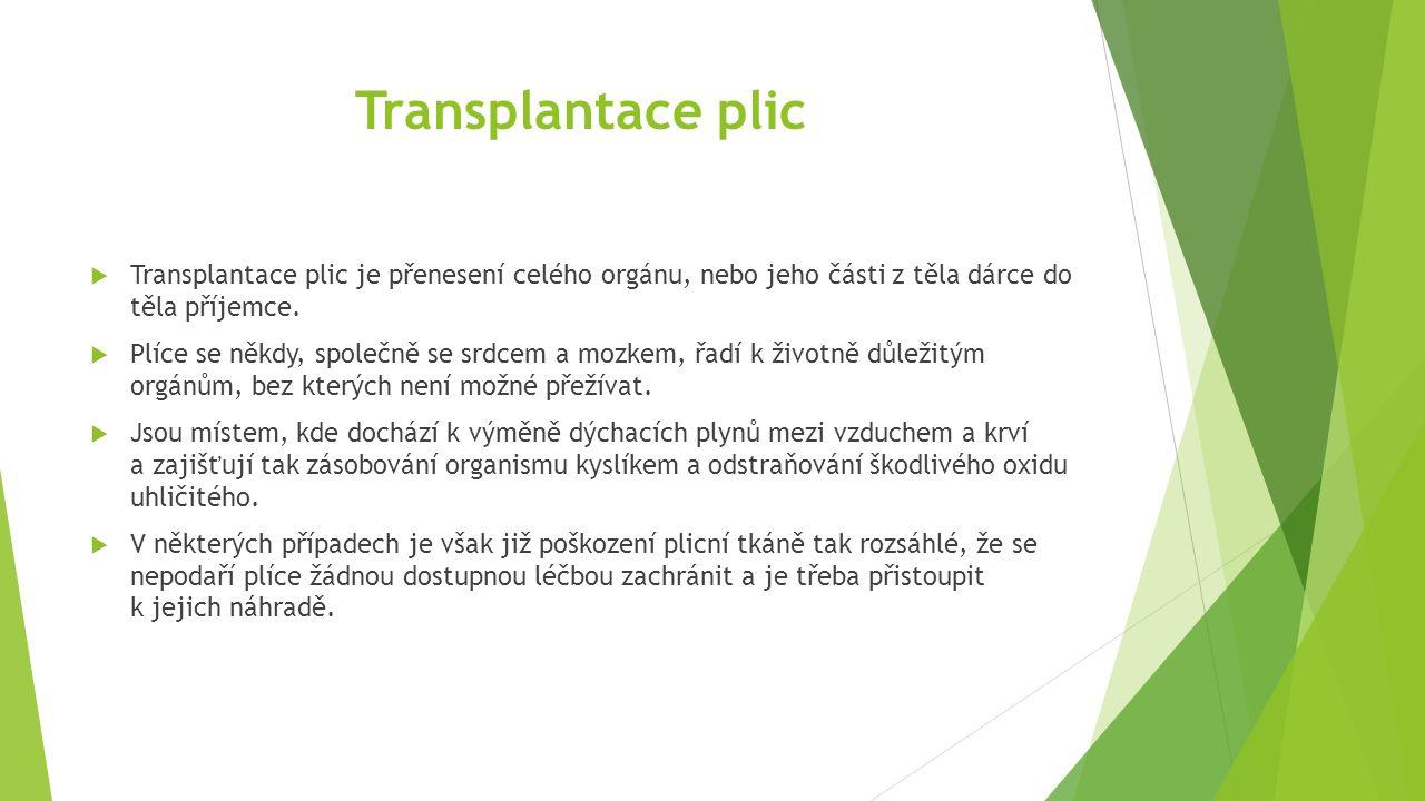 Transplantace plic Transplantace plic je přenesení celého orgánu, nebo jeho části z těla dárce do těla příjemce.