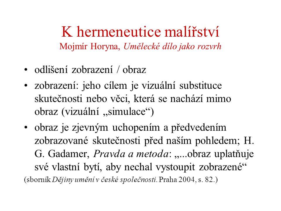K hermeneutice malířství Mojmír Horyna, Umělecké dílo jako rozvrh