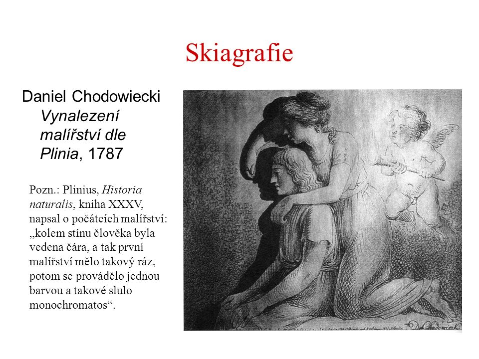 Skiagrafie Daniel Chodowiecki Vynalezení malířství dle Plinia, 1787