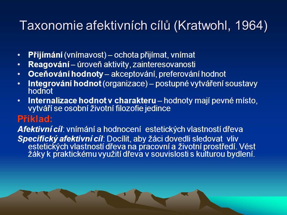 Taxonomie afektivních cílů (Kratwohl, 1964)