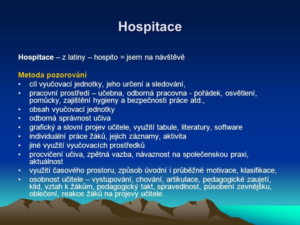 Hospitace Hospitace – z latiny – hospito = jsem na návštěvě