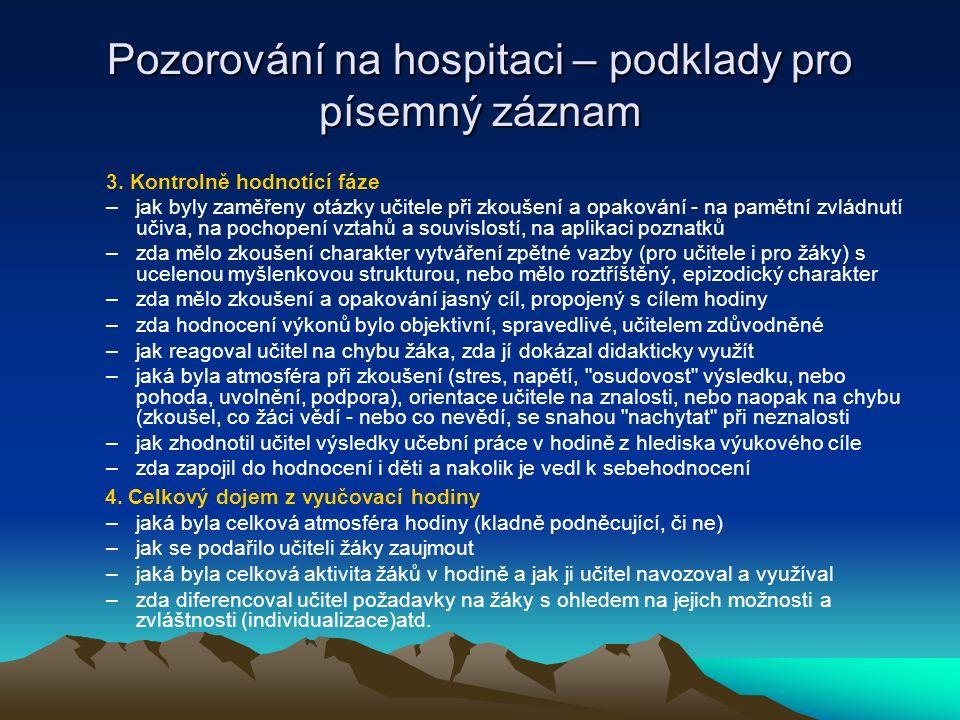 Pozorování na hospitaci – podklady pro písemný záznam
