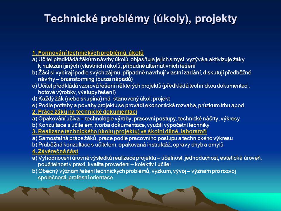 Technické problémy (úkoly), projekty