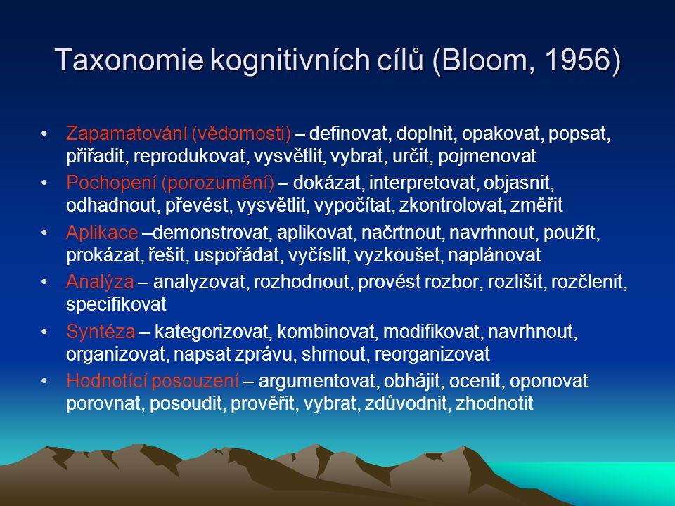 Taxonomie kognitivních cílů (Bloom, 1956)