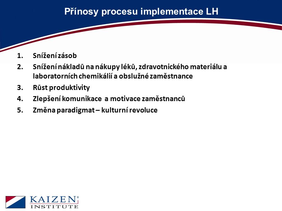 Přínosy procesu implementace LH