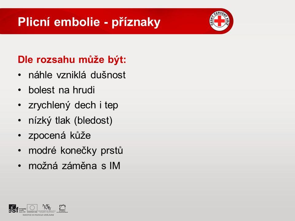 Plicní embolie - příznaky