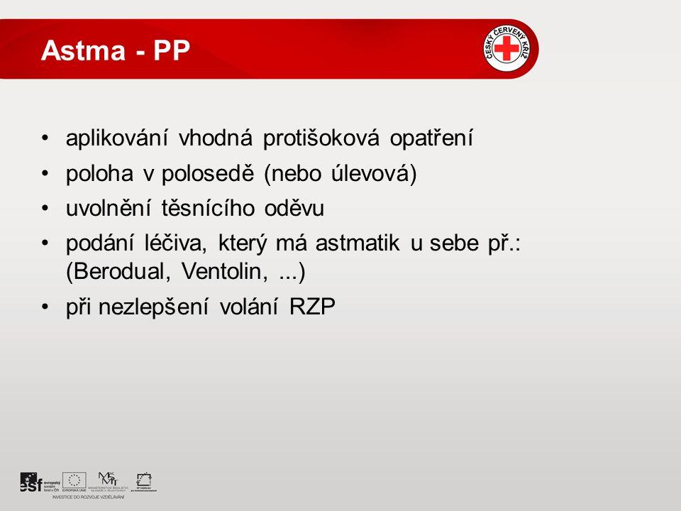 Astma - PP aplikování vhodná protišoková opatření