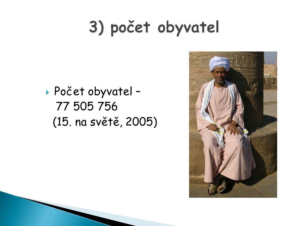 3) počet obyvatel Počet obyvatel – 77 505 756 (15. na světě, 2005)
