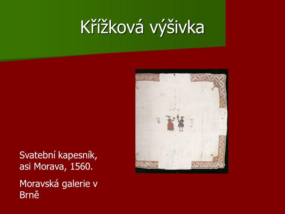 Křížková výšivka Svatební kapesník, asi Morava, 1560.