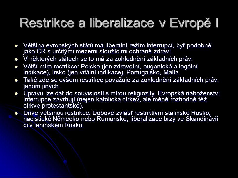 Restrikce a liberalizace v Evropě I