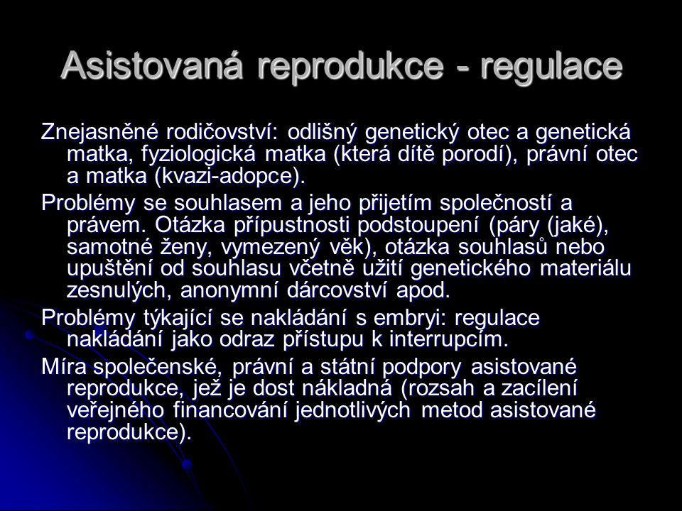 Asistovaná reprodukce - regulace