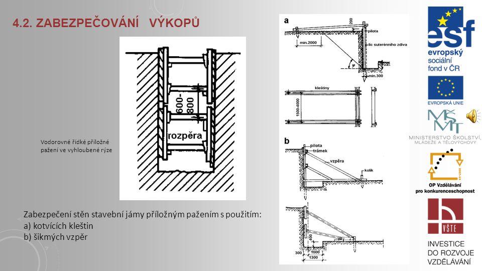 4.2. Zabezpečování výkopů Zabezpečení stěn stavební jámy příložným pažením s použitím: a) kotvících kleštin b) šikmých vzpěr.