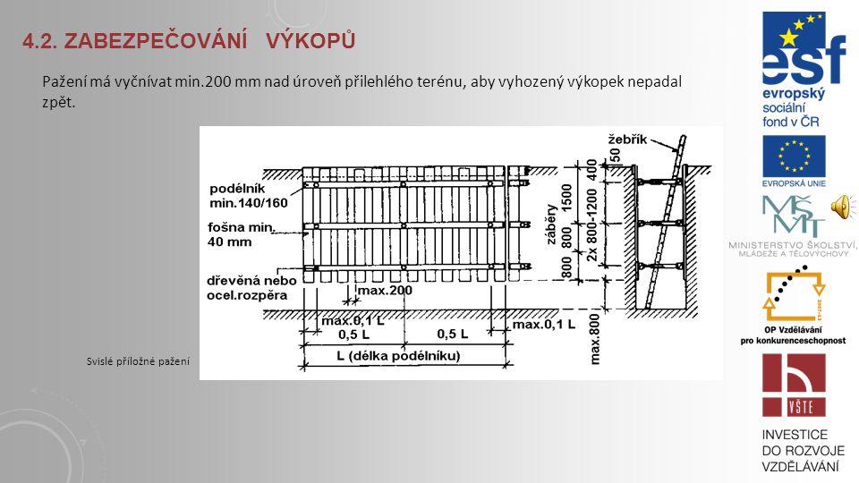 4.2. Zabezpečování výkopů Pažení má vyčnívat min.200 mm nad úroveň přilehlého terénu, aby vyhozený výkopek nepadal zpět.