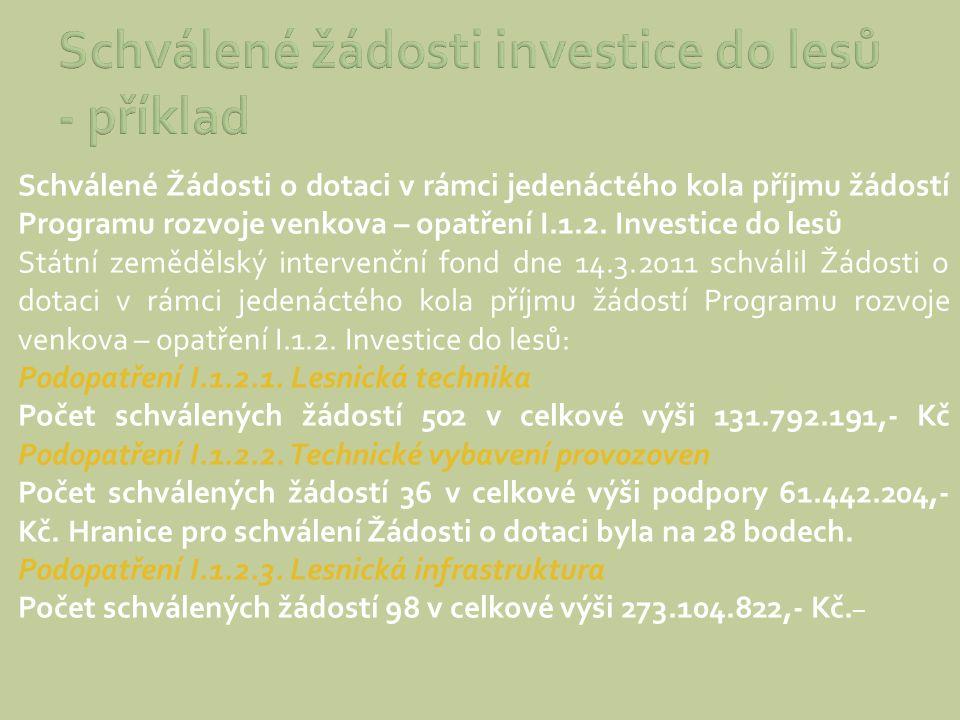 Schválené žádosti investice do lesů - příklad