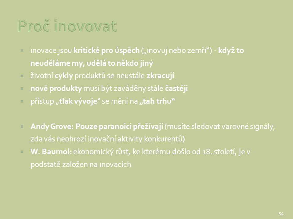 """Proč inovovat inovace jsou kritické pro úspěch (""""inovuj nebo zemři ) - když to neuděláme my, udělá to někdo jiný."""