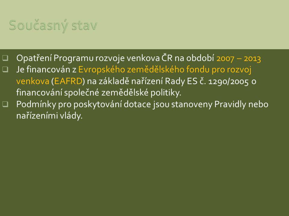 Současný stav Opatření Programu rozvoje venkova ČR na období 2007 – 2013.