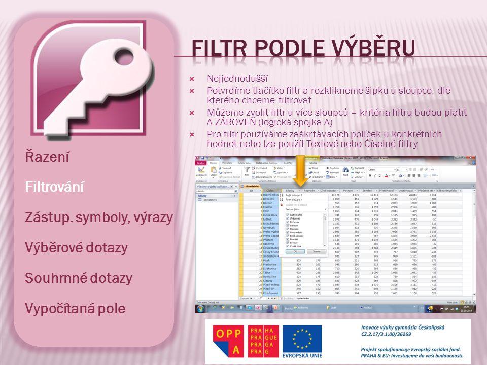 Filtr podle výběru Řazení Filtrování Zástup. symboly, výrazy