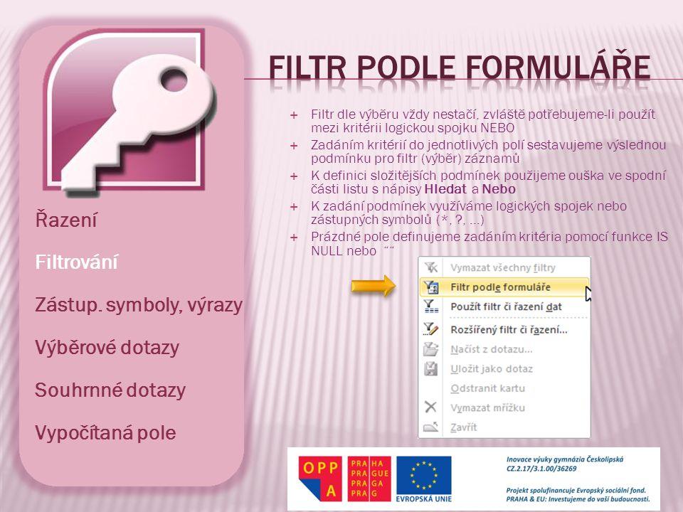 Filtr podle formuláře Řazení Filtrování Zástup. symboly, výrazy