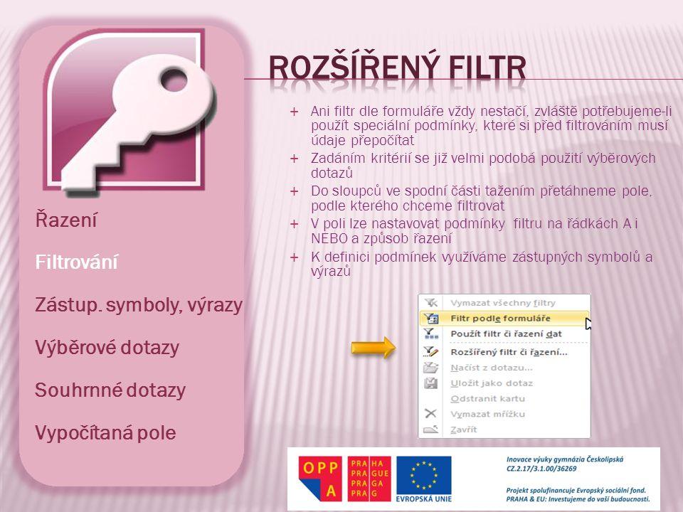Rozšířený Filtr Řazení Filtrování Zástup. symboly, výrazy