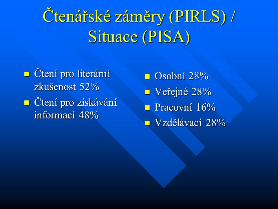 Čtenářské záměry (PIRLS) / Situace (PISA)