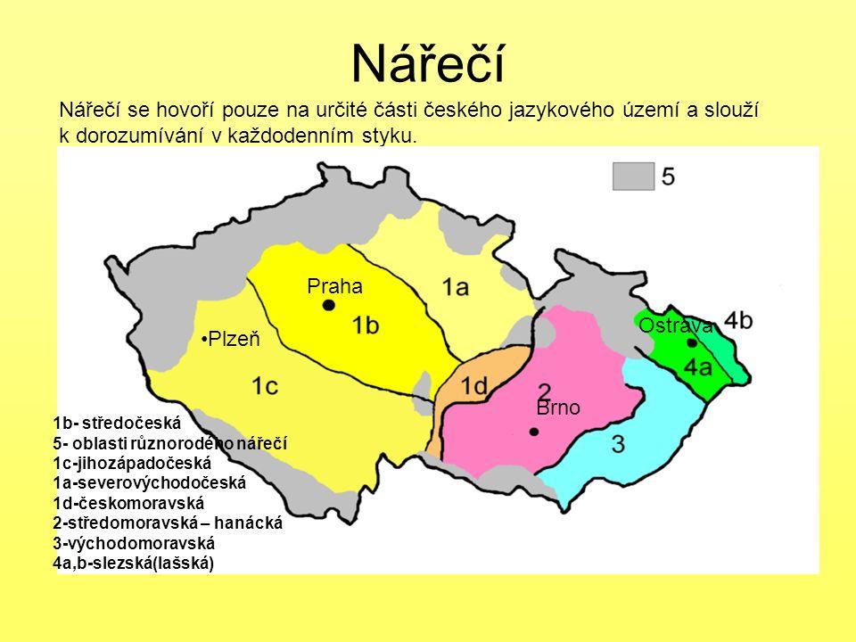 Nářečí Nářečí se hovoří pouze na určité části českého jazykového území a slouží. k dorozumívání v každodenním styku.
