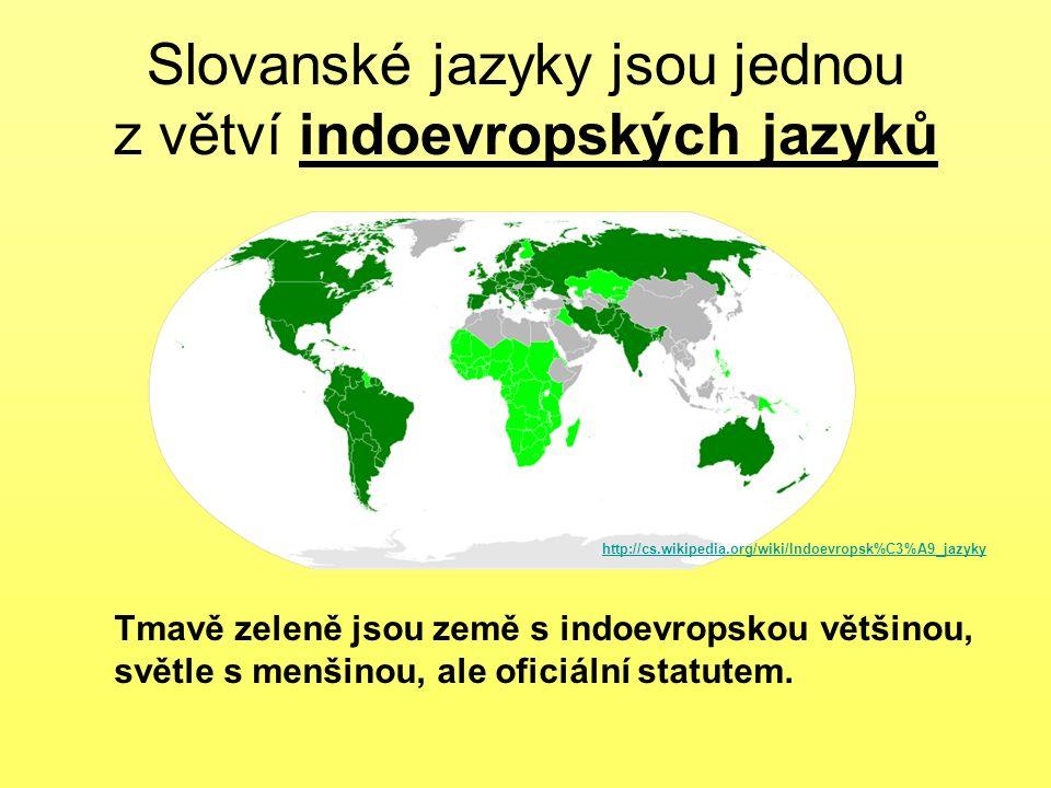 Slovanské jazyky jsou jednou z větví indoevropských jazyků