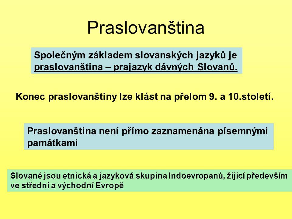 Praslovanština Společným základem slovanských jazyků je