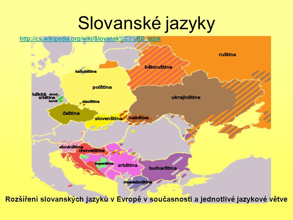 Slovanské jazyky http://cs.wikipedia.org/wiki/Slovansk%C3%BD_jazyk.