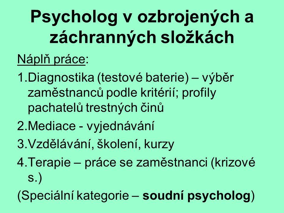 Psycholog v ozbrojených a záchranných složkách