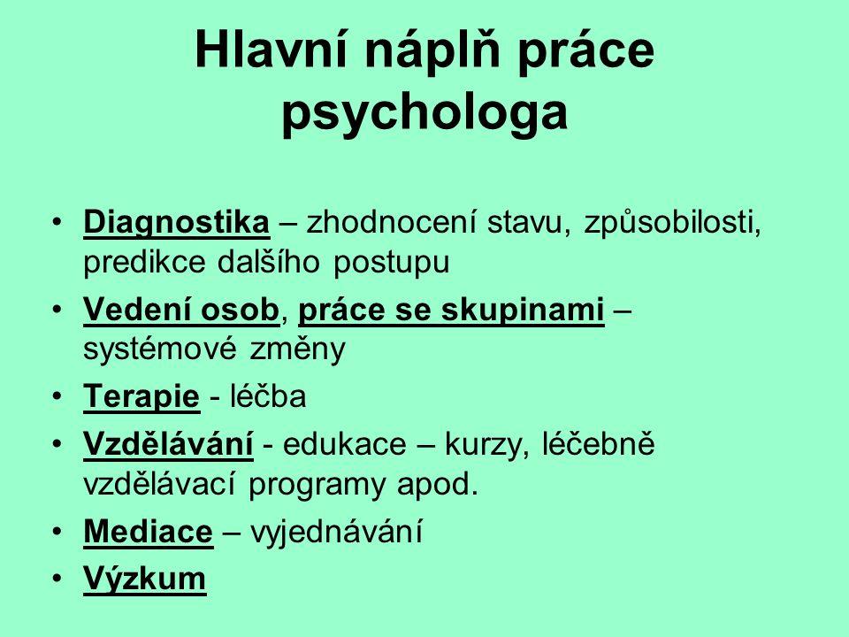 Hlavní náplň práce psychologa
